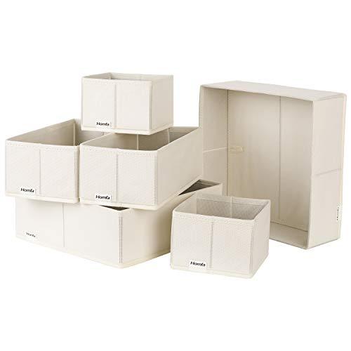 Homfa 6PCS Cajas Almacenamiento Tela Cajas Organizadores de Cajones para Almacenaje Cubos Tela Plegables (Tamaños Variados 3) (Beige)