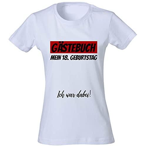 FLYERALARM T-Shirt Damen - 18 Geburtstag Gästebuch - Party - Geschenk T Shirt weiß S