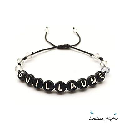 Bracelet personnalisé GUILLAUME avec prénom, texte, message, logo, initiale lettres de l'alphabet A-Z; création sur mesure