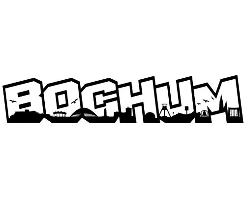 Samunshi® Wandtattoo Bochum Schriftzug Skyline Bochum schwarz 120x24cm