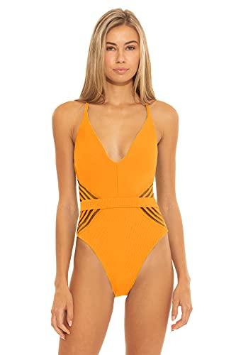 ISABELLA ROSE Women's Queensland Rib High Leg One Piece Swimsuit Sunkissed M