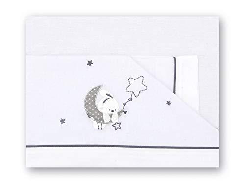 Pirulos Luna Juego de Sábanas 100% Algodón para Cochecito de 40x80 cm para Invierno y Verano, Color Gris