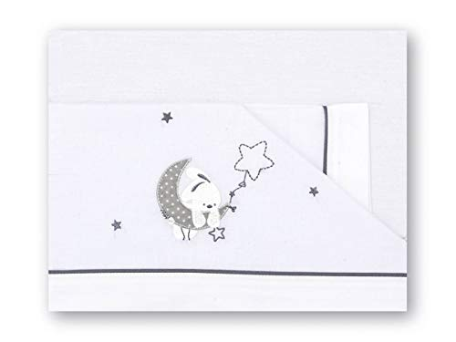 Pirulos Luna Juego de Sábanas 100% Algodón para Cuna de 60x120 cm para Invierno y Verano, Color Gris