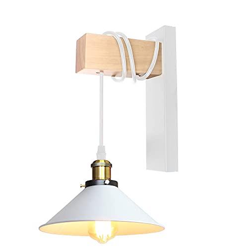 Lámpara de Pared Industrial Madera E27 Apliques de Pared Interior Retro Iluminación 60W Ajustable Decoración para Salón Dormitorio (Blanco - 1 pieza)