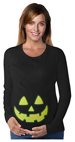 Glow in The Dark Jack O' Lantern - Camisa de manga larga para disfraz de Halloween - negro - Large