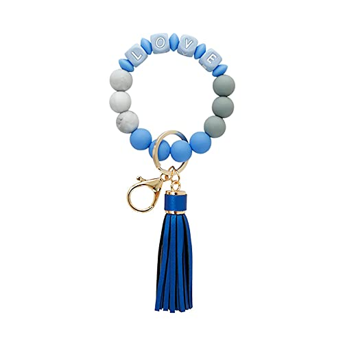 Love Bracelet Keychain, High-Quality Silicone Bead Keychain, Pu Leather Tassel Pendant Wrist Bracelet Keychain, Perfect Gift for Classmates, Friends, Family, Parents, Teachers, Etc. Azure Blue