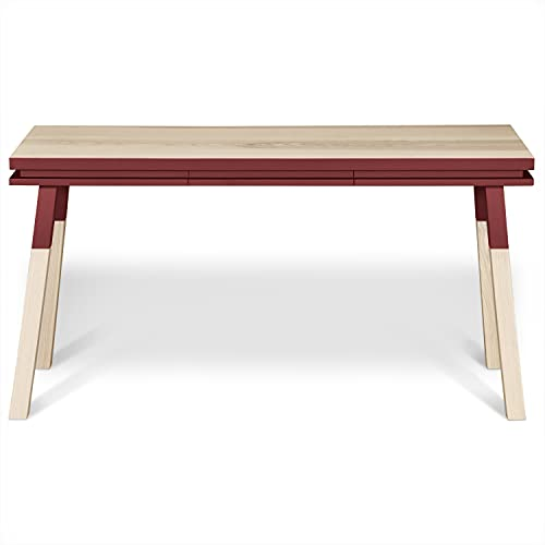 Mon pequeño mueble francés de escritorio console, 100% fresno macizo, 140 x 77 cm, color rojo de pluduno