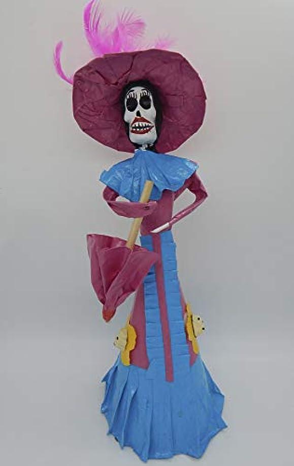 COLOR Y TRADICIóN Mexican Catrina Doll Day of Dead Skeleton Paper Mache Dia de Los Muertos Skull Folk Art Halloween Decoration Umbrella # 1598