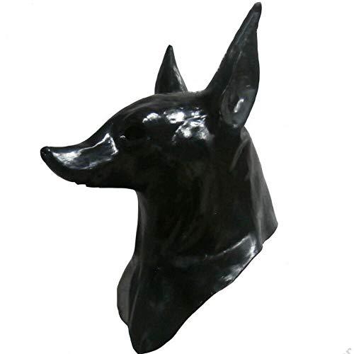Máscara de látex Hengyutoy, máscara de cabeza de Anubis, animales, Navidad, Halloween, disfraces, decoración de fiesta accesorio para disfraz de perro