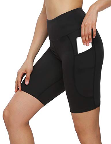 MOVE BEYOND Yoga-Shorts für Damen mit 2 Taschen Hohe Taille Blickdicht Yogahose, Schwarz, M