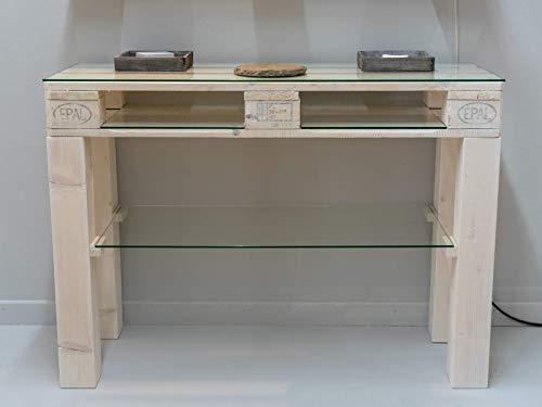 MySpiegel.de Glasplatte Glasscheibe für Euro Palettenmöbel 6mm 120x40 cm Polierte Kante Ecken gestoßen Durchsichtig Klar Glasboden Glastisch
