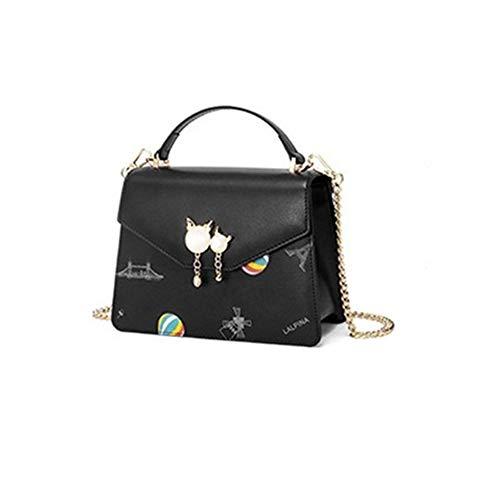 Cbkmz Handtasche aus Leder, schlicht, minimalistisch, mit Kette, kleine quadratische Tasche, ideal, Schwarz (Schwarz) - 081525