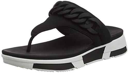 FitFlop Heda Chain Toe-Thongs, Sandalias de Punta Descubierta para Mujer, Negro (Black 001), 42 EU