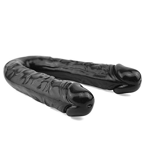 Super Long Soft Dual Head Sided Realistic Big Double Ended Dî`ld.ɔ for Female Women Couples Super Soft TPE Big Double Head Super Waterproof Tools 16.5 Inch Black Realistic Couple Flirting To Sẹx Ðịldo