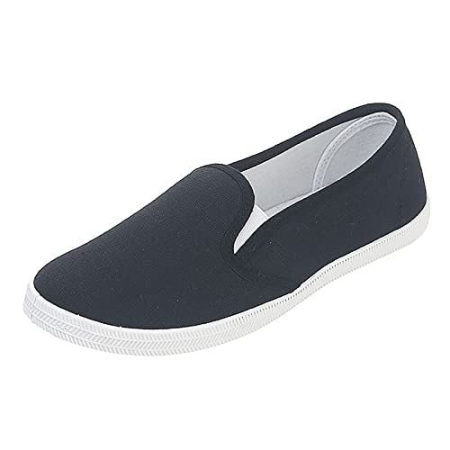 Women Shoes Ladies Slip On Flat Loafers Low Tops Casual Walking Shoes Teen Girls School Canvas Shoes Comfortable Moccasins Nursing Shoes (Black, 5.5)