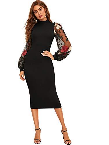 SOLY HUX  Damen Kleid Netz Figurbetont Schlauch Kleider mit Stickerei Blumen Applikation Bishop Party Kleider, M, Muster-schwarz