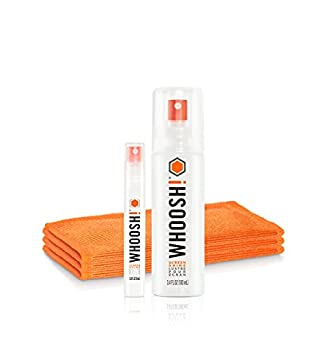 WHOOSH! Screen Cleaner Kit – [3.4oz +0.8oz] Best for – Smartphones iPhone iPads Eyeglasses e-Readers Laptop TV Screen Cleaner and Computer Monitor– 3 Premium Cloths Included