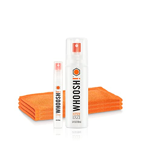 WHOOSH! Screen Cleaner Kit – [3.4oz +0.8oz] Best for – Smartphones, iPhone, iPads, Eyeglasses, e-Readers, Laptop, TV Screen Cleaner, and Computer Monitor– 3 Premium Cloths Included