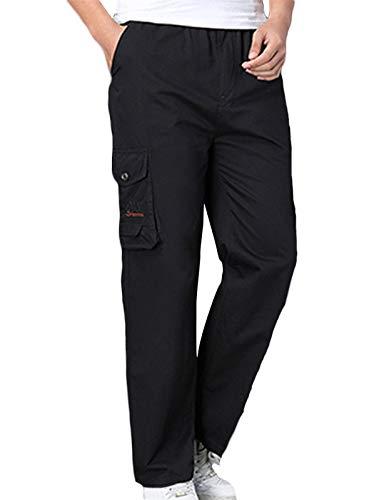 SK Studio Homme Pantalon Grande Taille Ceinture Elastique Cargo Coton Multipoches Pantalon Noir