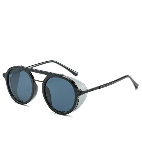 YOULIER Gafas de Sol Retro Unisex Tendencia de Moda Gafas de Sol Redondas y Frescas Gafas de Sol de Mujer con Parte Superior Plana Hombres Uv400 5710-1