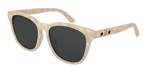 Gucci GG0232SK 005 Gafas de sol, Blanco (5/Grey), 56 para Mujer