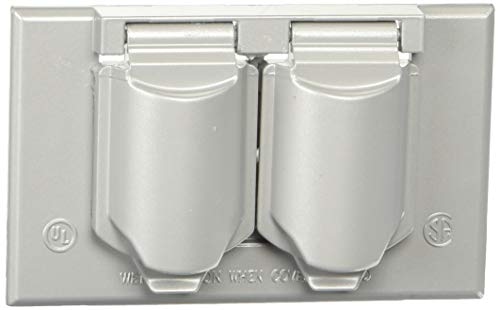 Leviton 004-0WM1D-SGY Placa para Intemperie de Aluminio/Zinc Fundido para Receptáculo Dúplex con Tapas…