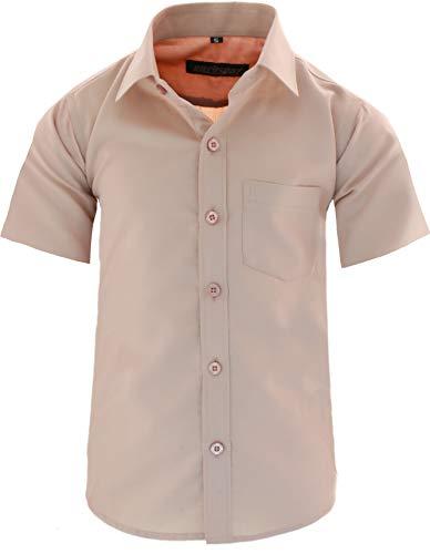GILLSONZ A0 vDa New Kinder Party Hemd Freizeit Hemd bügelleicht Kurz ARM mit 9 Farben Gr.86-158 (146/152, Camel)