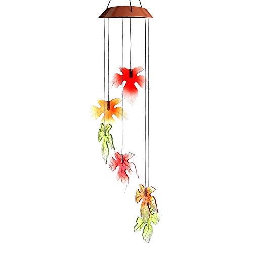 FEE-ZC Garten Deko Nrpfell Solar Wind Glockenspiel Licht Herbst Ahorn Outdoor Solar Wind Mobile Farbwechsel Dekoration Lichter für Patio Deck Garten