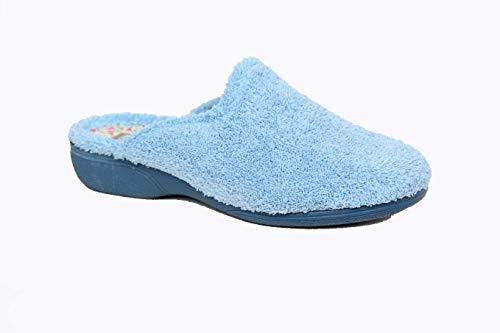 Zapatilla Puntera Cerrada con cuña de 2.5 cm de Goma, Pala de Rizo Toalla, Hechas EN ESPAÑA, Muy comodas y Confortables (Jeans, Numeric_40)
