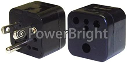Power Bright PB36 Plug Adapter American Flat Pin Grounded Input: Round Pin Grounded