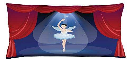 ABAKUHAUS Ballet Throw Pillow Cushion Cover, Dancer in the Middle of Stage with Wings Like an Angel Theatre Arts, Decorative Square Accent Pillow Case, 36 X 16 Inches, Red Violet and Baby Blue