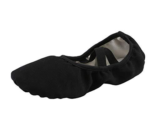 Women's Canvas Ballet Slippers Practice Yoga Flat Shoes Split Belly Shoes(9, Black Band)