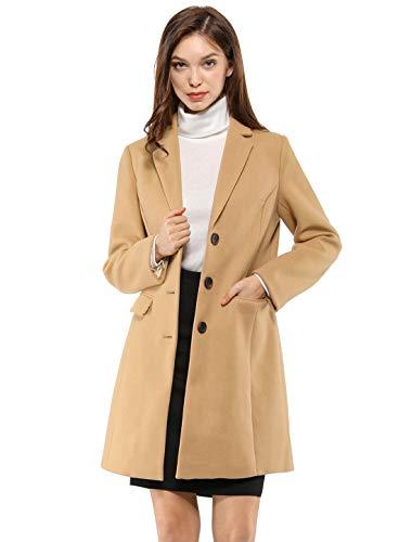 Allegra K Women's Notched Lapel Single Breasted Outwear Winter Coat XS Browns