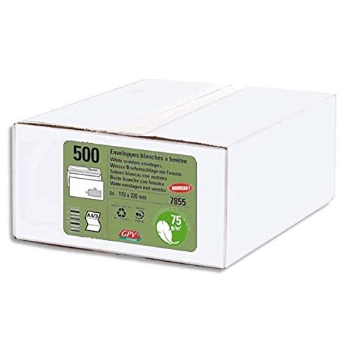GPV 7856 - Confezione da 500 buste con finestra autoadesiva, 110 x 220, colore: Bianco
