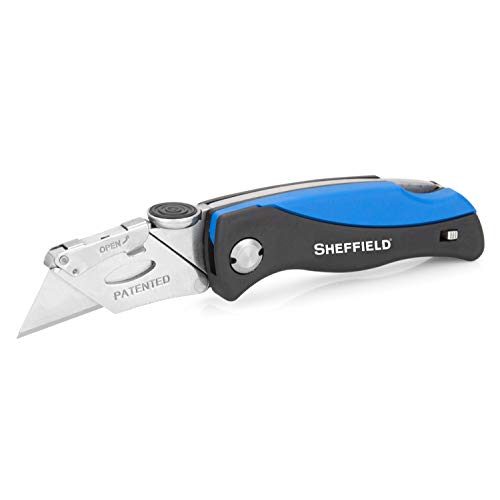 Sheffield 12119 Ultimate Lock Back Utility Knife, Box Cutter Knife, Carpet Knife, Drywall Cutter, Quick-Change Blade, Comes with 5 Blades, Blade Storage in Handle, Blue