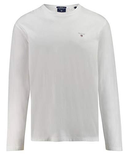 GANT The Original LS T-Shirt Camisa Manga Larga, Blanco (White 110), Large para Hombre