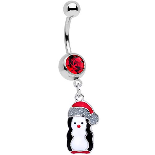 Body Candy Womens 14G 316L Steel Navel Ring Piercing Red Accent Penguin Holiday Dangle Belly Button Ring