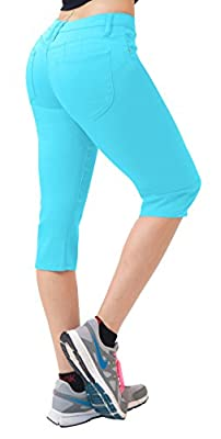 "Hybrid & Co. Women's 17"" Butt Lift Super Comfy Stretch Denim Capri Jeans"