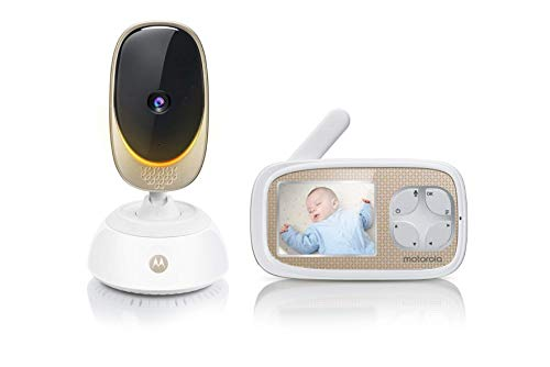 Motorola Baby Comfort 45 Connect Video-Babyphone mit Schwenk- und Zoomfunktion, Wi-Fi, 2.8 Zoll Farbdisplay, Nachtsicht, 2-Wege-Audio und Temperatursensor, weiß