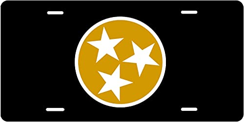 Decorative Car Front License Plate, Gold And Black Tri Star License Plate. License Plate Frame. Custom License Plate. Personalized License Plate. Tn Flag Licnese Plate, 6 X 12 Inch