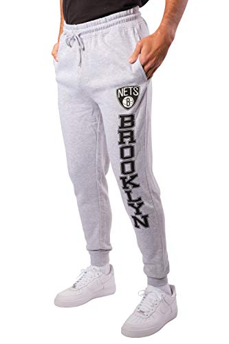 Ultra Game NBA Brooklyn Nets Mens Team Jogger Pants, Left Leg Logo, Medium