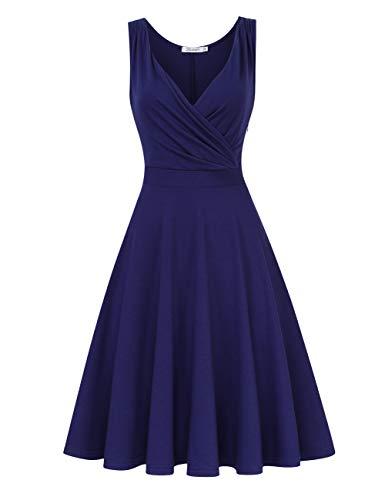 KOJOOIN Damen Vintage Abendkleid Retro Cocktailkleid Knielang Rockabilly Kleid Dunkelblau 【EU 34-36】/S