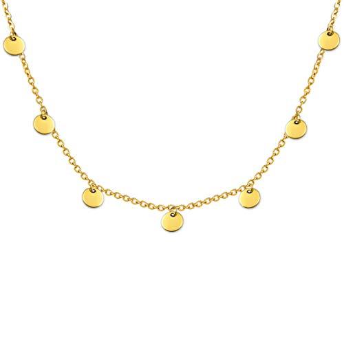 SHINE & WANDER Tiny Coin Necklace   Damen Boho Edelstahl Halskette mit Plättchen in Gold, Silber und Roségold   verstellbar (Gold)