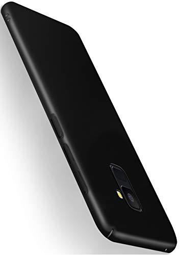 moex Alpha Hülle für Samsung Galaxy A8 (2018) Hülle Stoßfest & Leicht Handyhülle Extra Dünn, Super Slim Schutzhülle Ultra Air Hybrid PC Hardcase aus Kunststoff - Matt Schwarz