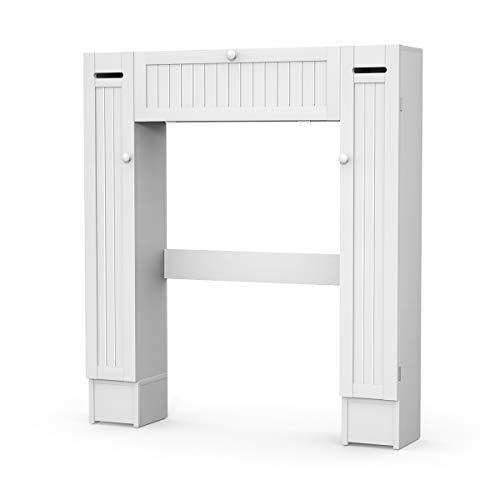 COSTWAY Toilettenschrank weiß, Überbauschrank Bad, Toilettenständer mit verstellbaren Regalböden, Badezimmerregal Holz, Badschrank freistehend