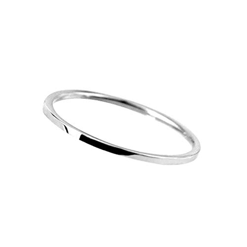 Mengonee Diseño simple de 1 mm liso fino acero inoxidable Anillo de Mujeres Hombre Niño Niña mano joyería de Navidad regalo de compromiso