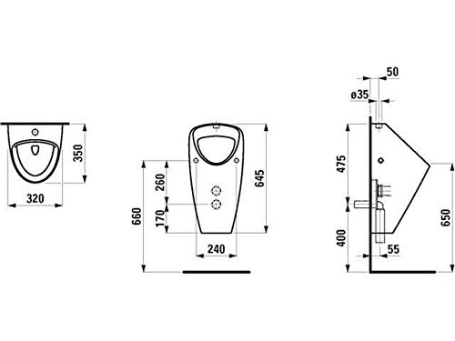 Laufen Absaugeurinal ohne Deckel Caprino Plus Zulauf von Oben ohne Fliege 320x350 weiß, Farbe: Weiß