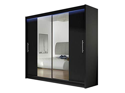 Kleiderschrank London II mit Spiegel, Schiebetürenschrank, Schwebetürenschrank, Modernes Schlafzimmerschrank 180x215x58cm, Garderobe, Schlafzimmer (Schwarz, mit RGB LED Beleuchtung)