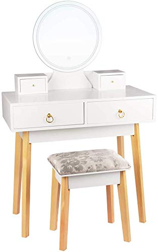 NOTREPP Mesa de tocador con Espejo LED Lámpara Ajuste Brillo Tocador Mesa de Maquillaje de Estilo Moderno,White
