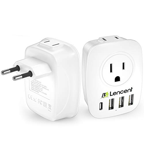 European Plug Adapter, LENCENT International Travel Power Plug with 2 AC Outlets&3 USB Ports &1 USB C, US to Most of Europe EU Italy Spain France Iceland Germany Greece Israel(Type C)